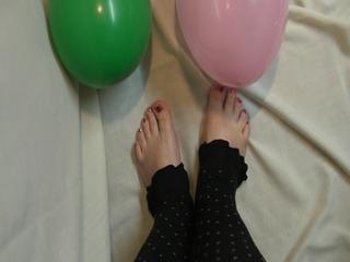 Fuß und Ballon Fetisch